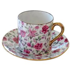 Chintz Demitasse Cup and Saucer Roses with Gold Gilt Trim