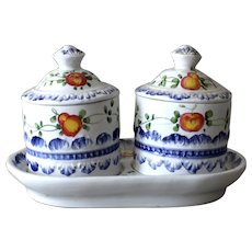 Vintage Italy Condiment Set Two Jars and Tray Hand Painted