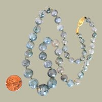 Necklace Moss Agate Graduated Beads 14K Clasp Hand Knotted