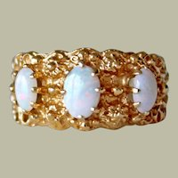 Vintage 14k Gold Opal Ring Three Stones Textured Setting