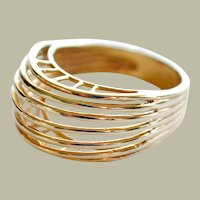 Unique Ring 14k Yellow Gold Sleek Modern High Style Design
