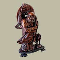 Chinese Shoushan Stone Carving Scholar with Foo Dog or Lion Statue