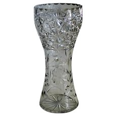 Heavy Crystal Etched and Cut Glass Vase 12 Inches Tall