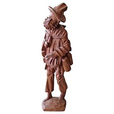 Figurine Barefoot Tramp or Hobo Hand Carved Wood