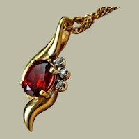 Necklace 14K Garnet and Diamond Pendant  14k Chain