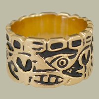 Cigar Band Ring 14K Gold Black Artistic Abstract Design