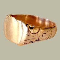 Antique Signet Ring 14k Gold Ready for Monogram
