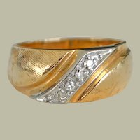 Wide Band Ring 14K Yellow Gold with Diamonds 6 grams