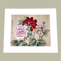 Japanese Watercolor Painting On Silk Peonies Butterfly Vintage