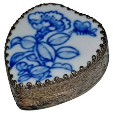 Porcelain Blue and White Heart Ring Trinket Box Vintage