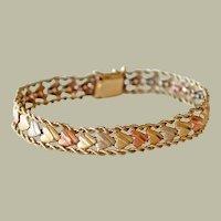 Heart Bracelet 14k Tricolor Gold White Rose Yellow 12 Grams