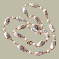 Necklace White Milk Glass Beads with Blue Roses