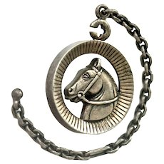 Sterling Silver Horse Watch Fob Chain Charm Pendant Unusual