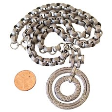 Antique Silver Hefty Link Chain Necklace and Pendant