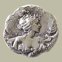 Antique Art Nouveau Pretty Lady Brooch Pin Sterling Silver