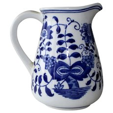 Hefty Blue and White Pitcher Hand Painted Oriental Motif