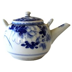 Old Porcelain Teapot Chinese Blue and White with Strainer Hand Painted Tea Pot