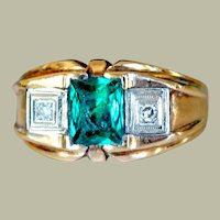 Ring 10K Yellow Gold with Faux Emerald and Genuine Diamonds