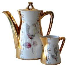 Bavaria Teapot and Creamer Heavy Gold Trim Tea Pot