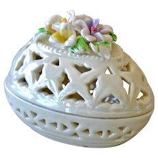 Porcelain Luster Egg Box Raised Sculpted Flowers