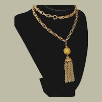 Vintage Tassel Necklace Big Link Chain 26 Inches Gold Tone
