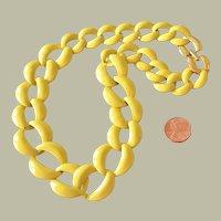 Vintage Napier Bright Yellow Big Link Necklace