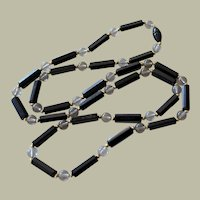 Necklace Black Oblong and Round Clear Beads 35 Inches