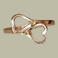 Bypass Ring 14K Yellow Gold Two Hearts