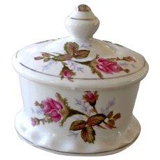Porcelain Ring or Trinket Box Pink Roses Silver Gilt Trim