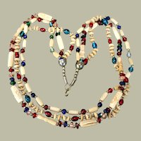 Necklace Three Strand Carved Bone Clear Bright Glass 28 Inches
