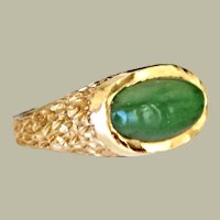 Vintage Ring Green onyx 14k Gold 8.5 Grams