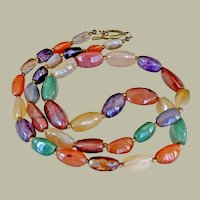 Necklace Large Polished Natural Stone 30 Inches