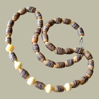 Necklace Ethnic Style Glass Trade Beads and Bone Earthy Colors