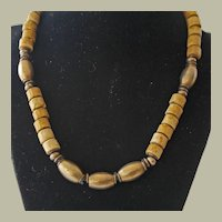 Necklace Oval Brass and Shell Beads