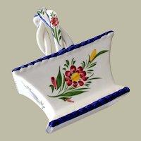Vintage Hand Painted Ceramic Basket Portugal
