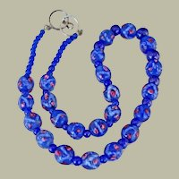Necklace Art Glass Blue Beads with Tiny Pink Roses Sterling Clasp