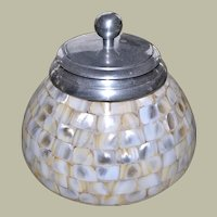 Mosaic Mother of Pearl Jar or Canister Storage Container on Glass Base