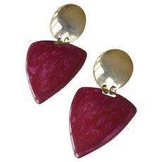 Vintage Earrings  Deep Fuchsia Enamel Pierced Ears