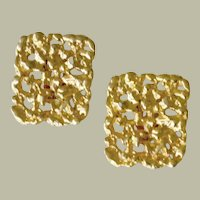 Vintage Clip Earrings Hefty Nugget Style Bright Gold Tone Metal