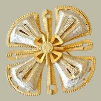 Vintage Hefty Maltese Cross Two Tone Pin Brooch
