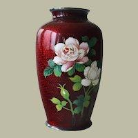 Japanese Cloisonne Enamel Vase Flowers Bamboo Background