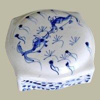Chinese Porcelain Box Hand Painted Koi Blue White