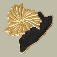 Large Pendant Pin Brooch Stylized Flower and Leaf