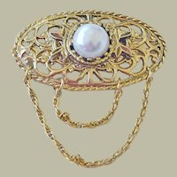Vintage Openwork Pin Brooch Faux Pearl and Chains