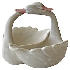 Loving Swans Porcelain Fitz and Floydd Dish Unusual Gray Color 1982