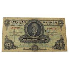 Latvia 20 Latu 1925 Bank Note Rare