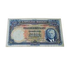 Bank Note Latvia 50 Latu 1934