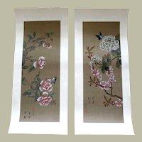 Pair  Japanese Watercolor Paintings on Silk Butterflies Peonies  Plum Blossoms Hydrangeas