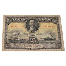 Latvia 25 Lati 1928 Bank Note  Banknote