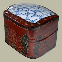 Chinese Lacquer Shard Box Porcelain Lid Blue White